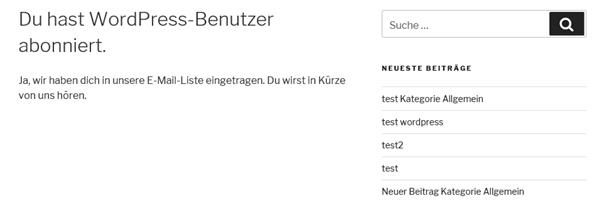Plugin Mailpoet Bestätigung der Anmeldung auf der WordPress-Website