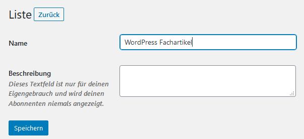 Mailing-Liste beim WordPress Plugin MailPoet hinzufügen