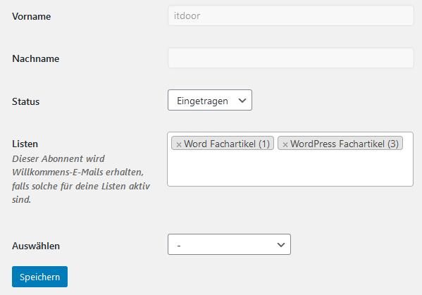 WordPress Plugin MailPoet manuell einem Abonnenten Listen zuordnen