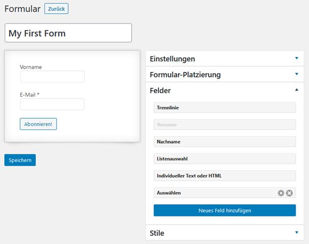 Felder für das Anmeldeformular beim WordPress Plugin MailPoet