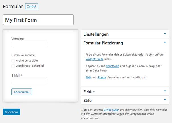 Platzierung des Anmeldeformulars beim WordPress Plugin MailPoet