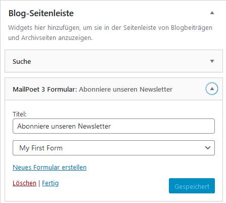 """Platzierung des Anmeldeformulars mit dem Widget """"MailPoet 3 Formular"""" in der Blog-Seitenleiste"""