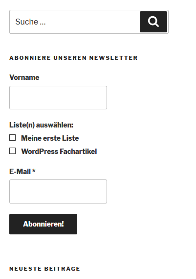 Anmeldeformular Plugin Mailpoet im Blog auf der WordPress-Website
