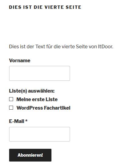 Anmeldeformular MailPoet auf einer Seite im Internet