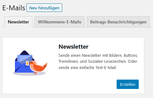 Registerkarte Newsletter beim WordPress Plugin MailPoet