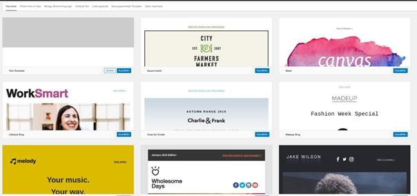 Auswahl Templates für Newsletter beim WordPress Plugin MailPoet