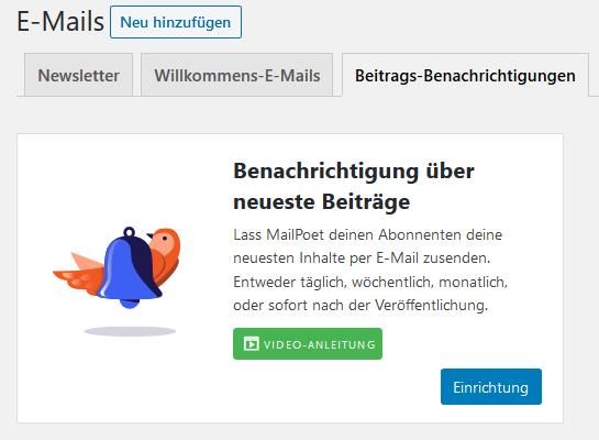 Registerkarte Beitrags-Benachrichtigungen beim WordPress Plugin MailPoet
