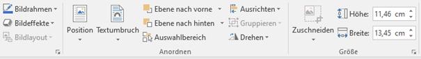 Word Funktionen bei Bildtools – Format (Teilsicht)