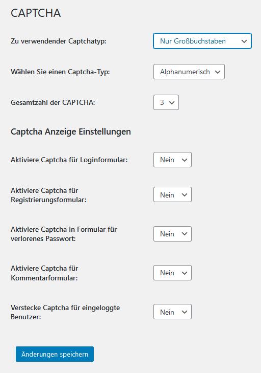 Voreinstellungen beim Plugin Captcha Code (Captcha settings)