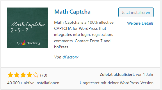 WordPress Plugin Math Captcha