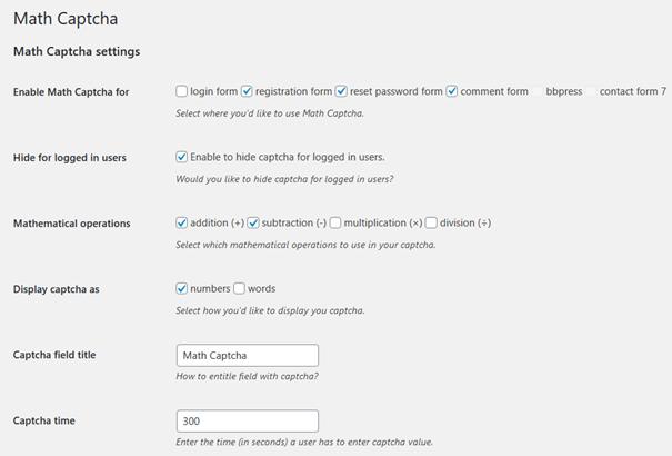 Voreinstellungen I bei dem WordPress Plugin Math Captcha