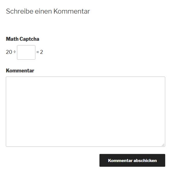 Logical Captcha von dem Plugin Math Captcha auf der WordPress-Website