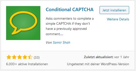 WordPress Plugin Conditional Captcha