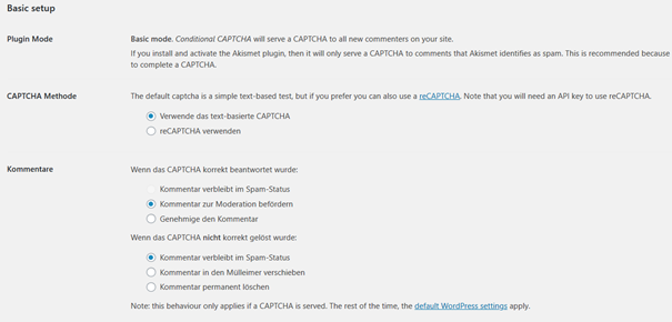 Voreinstellungen bei dem WordPress Plugin Conditional Captcha