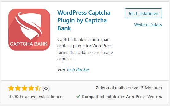 WordPress Plugin Captcha Bank