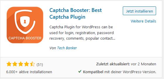 WordPress Plugin Captcha Booster