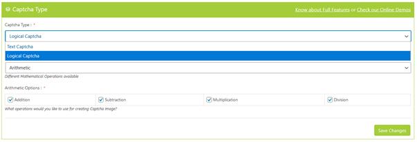 Auswahl Captcha Type beim WordPress Plugin Captcha Booster
