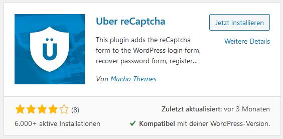 WordPress Plugin Uber reCaptcha