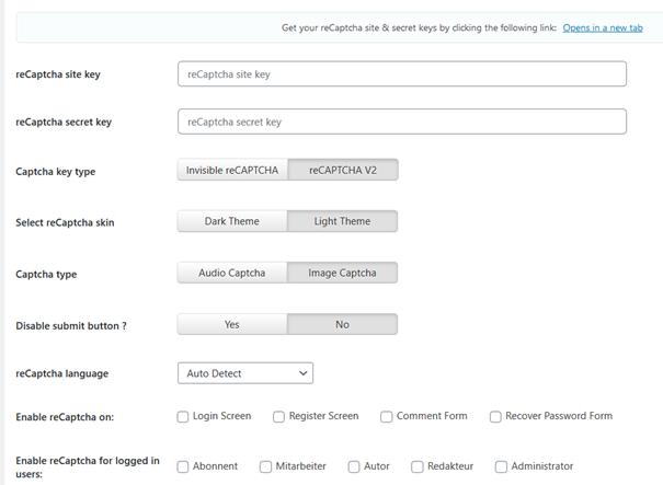 Voreinstellungen beim WordPress Plugin Uber reCaptcha