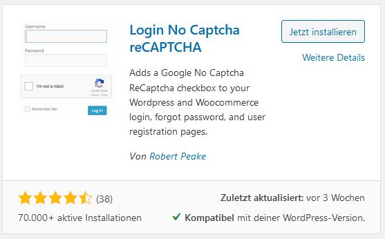 WordPress Plugin Login No Captcha reCAPTCHA