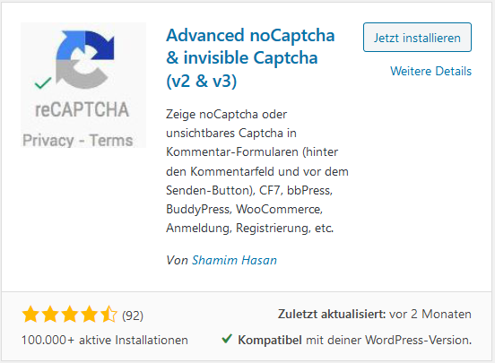 WordPress Plugin Advanced noCaptcha & invisible Captcha