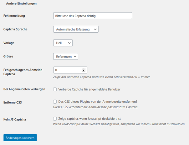 Voreinstellungen II für das WordPress Plugin Advanced noCaptcha & invisible Captcha