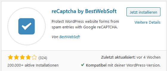 WordPress Plugin reCaptcha
