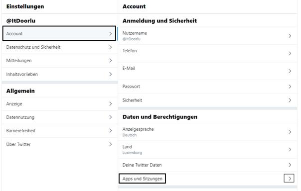 Twitter: Einstellungen - Account - Apps und Sitzungen